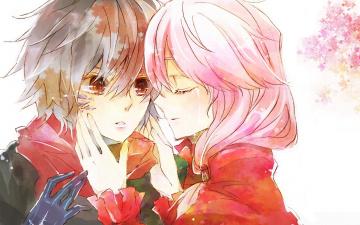 обоя аниме, guilty crown, корона, грешника, guilty, crown, руки, слеза, fan, art, inori, yuzuriha, шарф, розовые, волосы, shu, ouma