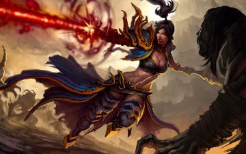 обоя фэнтези, девушки, битва, нежить, магия, меч, девушка, латы, оружие