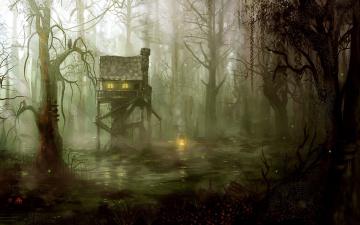 обоя фэнтези, иные миры,  иные времена, лукоморье, лес, избушка, чаща, окно, сказка, свет