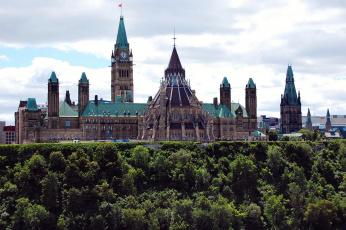 обоя города, оттава, канада, деревья, башня, парламент, холм