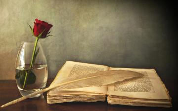 обоя разное, канцелярия,  книги, перо, стол, роза, ваза, книга
