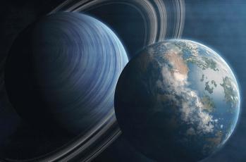 обоя космос, арт, планета, коллаж, кольча