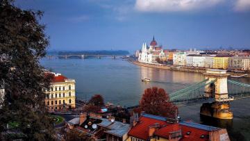 обоя города, будапешт , венгрия, панорама, река, мосты