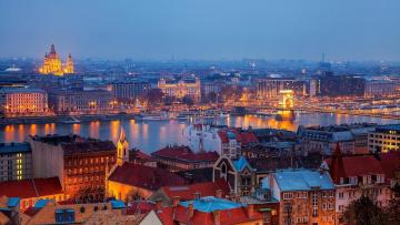обоя города, будапешт , венгрия, река, панорама, вечер, мост