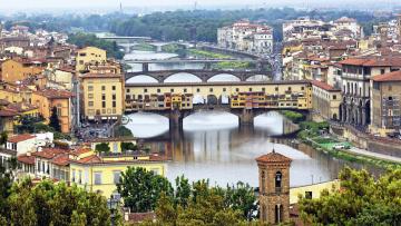 обоя города, флоренция , италия, река, мосты