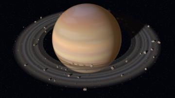 обоя космос, сатурн, планета, с, кольцами