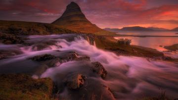 обоя природа, водопады, горы, озеро, водопад