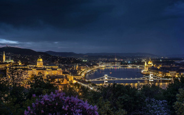 обоя города, будапешт , венгрия, река, ночь, огни, мост, панорама
