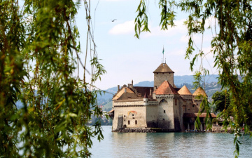 обоя города, шильонский замок , швейцария, вода, замок, река