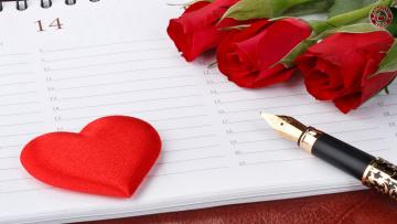 Картинка праздничные день св валентина сердечки любовь розы цветы сердце сердечко ежедневник паркер