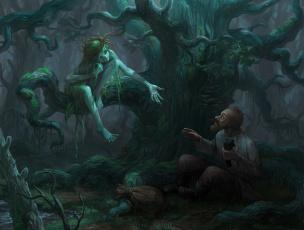 обоя фэнтези, существа, иной, мир, лес, существо, мужчина, встреча
