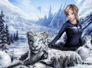 обоя фэнтези, девушки, иной, мир, девушка, снежный, барс, зима