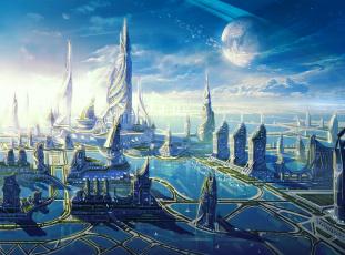 обоя фэнтези, иные миры,  иные времена, иной, мир, город, сооружения