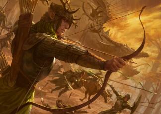 обоя фэнтези, эльфы, воины, атака, лес, дракон