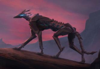обоя фэнтези, роботы,  киборги,  механизмы, иной, мир, существо, киборг, пес