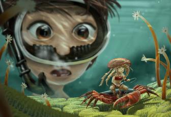 обоя фэнтези, иные миры,  иные времена, иной, мир, подводный, аквалангист, краб