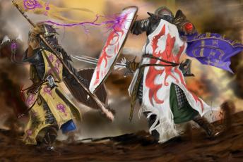 обоя фэнтези, люди, воины, схватка, сражение, доспехи