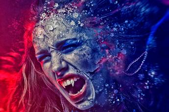 обоя фэнтези, фотоарт, вампир, девушка, крик