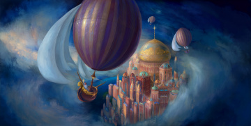 обоя фэнтези, иные миры,  иные времена, иной, мир, воздушные, шары, город, купола