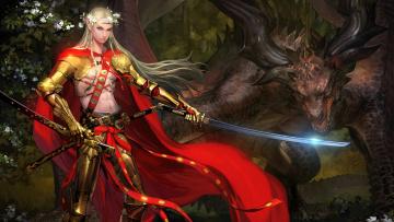обоя фэнтези, эльфы, меч, парень, дракон, эльф