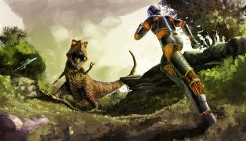 обоя фэнтези, роботы,  киборги,  механизмы, иной, мир, киборг, схватка, динозавр