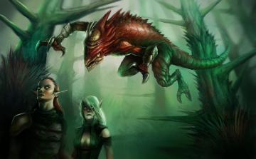 обоя фэнтези, эльфы, нападение, монстр, существо, лес
