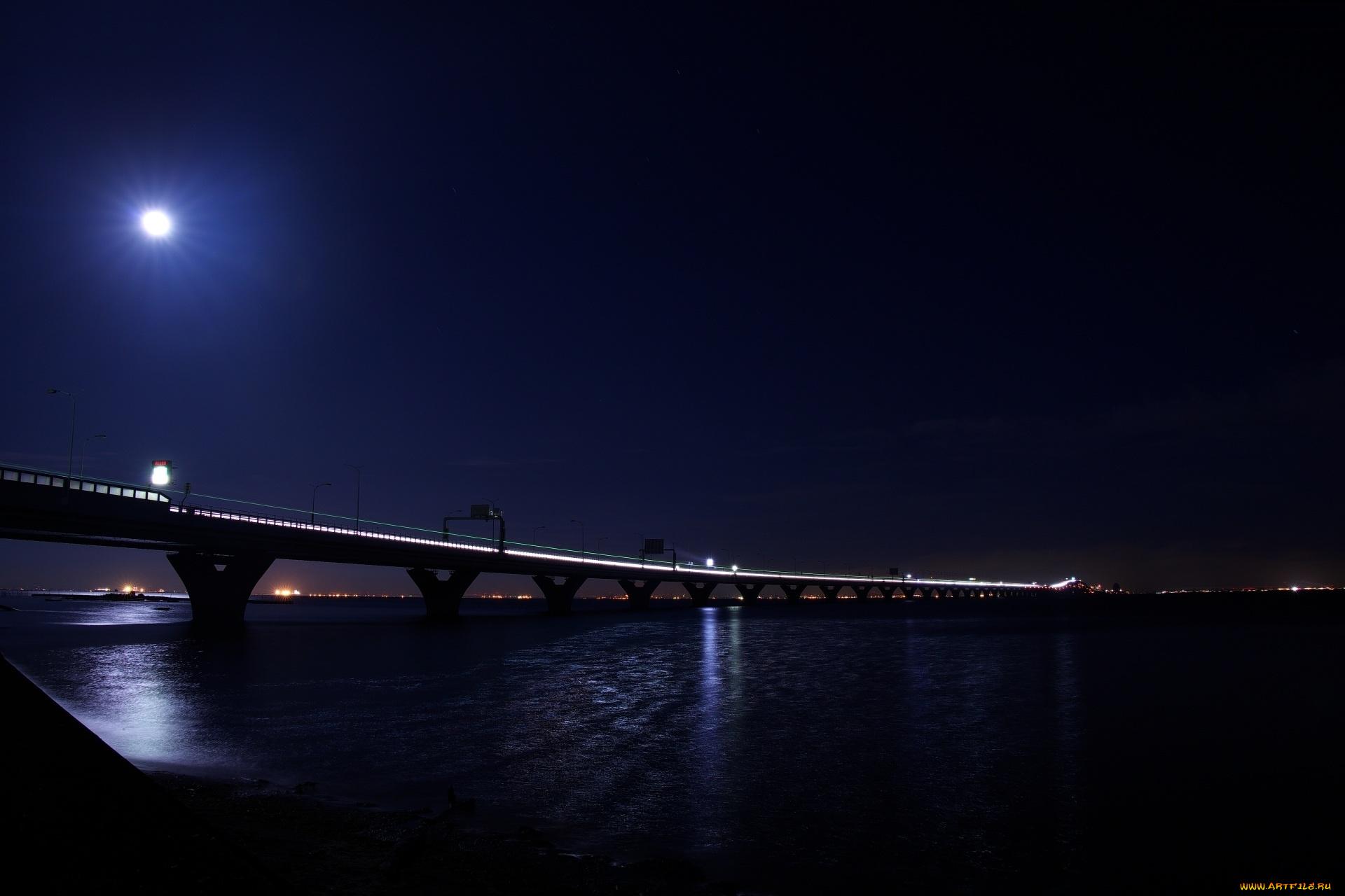 Мост огни ночь  № 3716577 загрузить