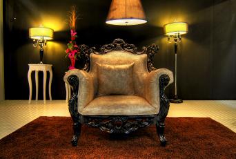 обоя интерьер, мебель, светильники, комната, кресло
