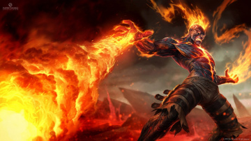 Картинка league+of+legends видео+игры brand artwork volcanoes men fantasy art lava