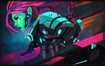 Картинка фэнтези девушки фантастика cyberpunk киборг мечи девушка арт