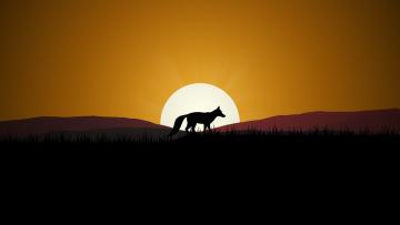 обоя векторная графика, животные , animals, закат, лиса