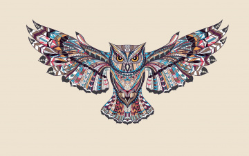 обоя векторная графика, животные , animals, светлый, фон, сова, птица, крылья, owl, краски