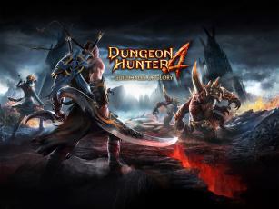 обоя видео игры, - payday 2, монстры, лучница, оружие, башни, воин, dungeon, hunter, 4, горы, скалы, трещина