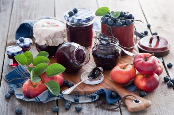 Картинка еда разное джем персики голубика ягоды баночки