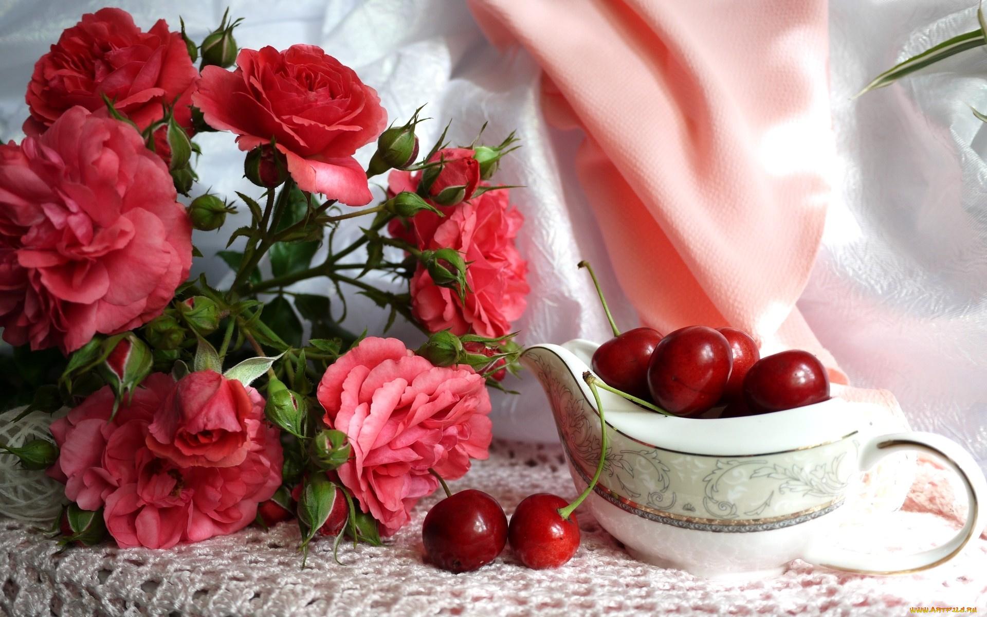 Открытка маме, открытки вишневые розы