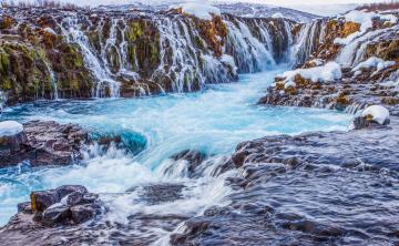 Картинка природа водопады исландия горы скалы снег водопад поток река