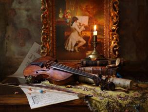 обоя музыка, -музыкальные инструменты, портрет, часы, свеча, скрипка