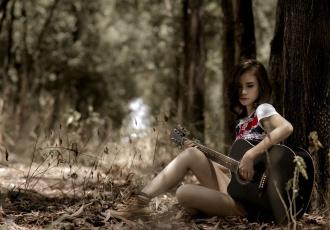 обоя музыка, - другое, гитара, девушка, трава