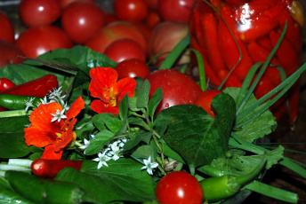обоя еда, овощи, перец, настурция, помидоры, зелень