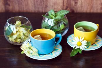 обоя еда, напитки,  Чай, липовый, цвет, лимон, чай, мята