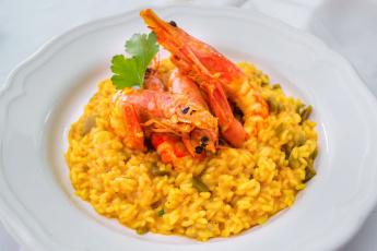 обоя еда, рыбные блюда,  с морепродуктами, рисотто, креветки