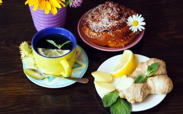 обоя еда, напитки,  Чай, мята, имбирь, лимон