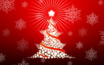 обоя праздничные, векторная графика , новый год, елка, снежинки, фон