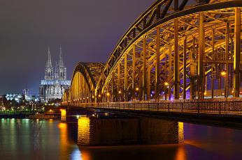 обоя hohenzollernbridge with cathedral, города, - огни ночного города, простор