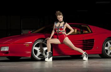 обоя автомобили, -авто не без; девушками, взгляд, девушка, автомобиль, фон