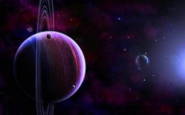 Картинка космос арт кольца планеты