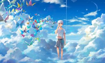 Картинка аниме tokyo+ghoul ruoyuwang ringo арт парень kaneki ken токийский гуль небо облака tokyo ghoul бабочки