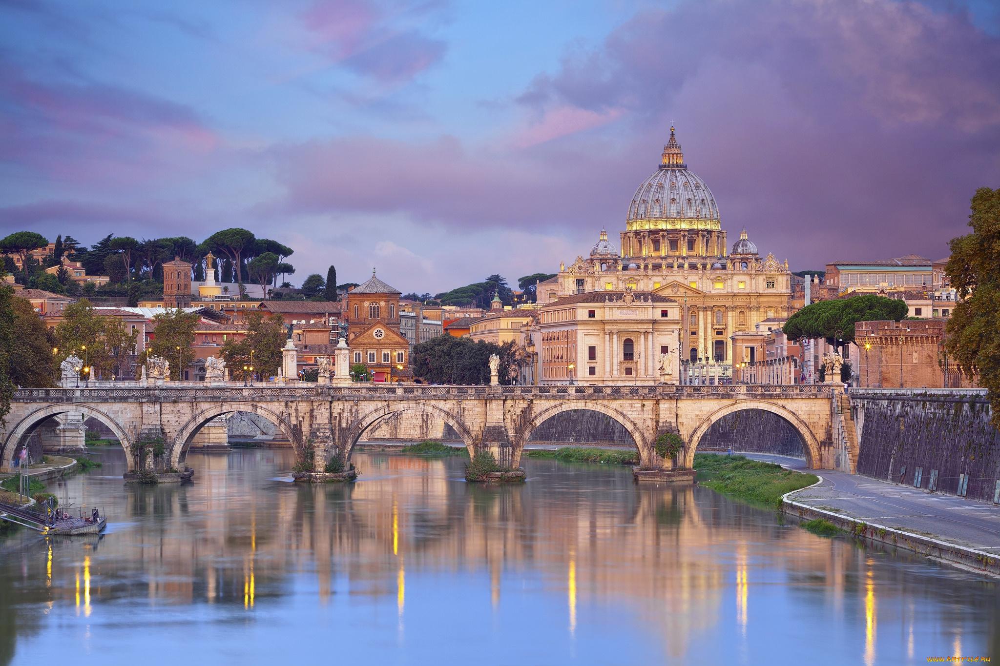 The Vatican Seen Past the Tiber River, Rome, Italy скачать