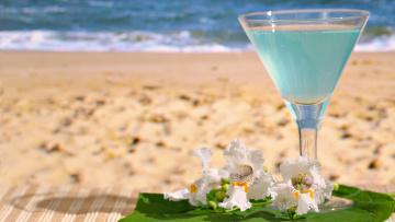 Картинка еда напитки коктейль цветы песок пляж бокал