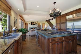 Картинка интерьер кухня люстра мебель
